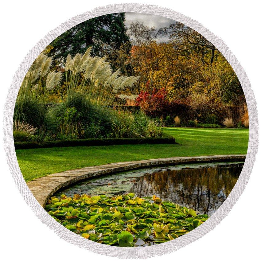 Pond Round Beach Towel featuring the photograph Autumn Garden by Adrian Evans