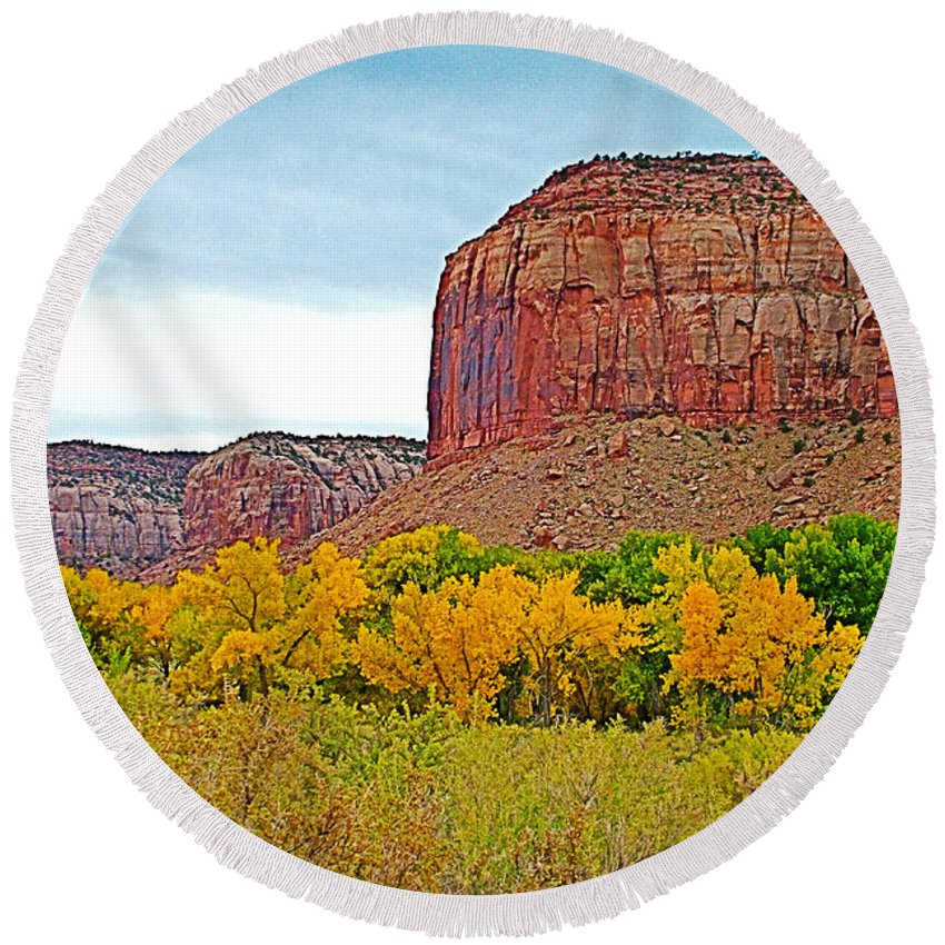 Autumn Gold On Highway 211 Going Into Needles District Of Canyonlands National Park Round Beach Towel featuring the photograph Autumn Gold On Highway 211 Going Into Needles District Of Canyonlands National Park-utah  by Ruth Hager