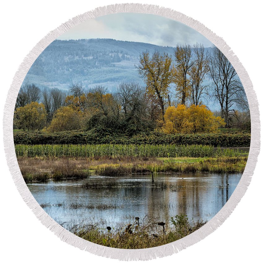 Sauvie Island Round Beach Towel featuring the photograph Autumn Haven by Belinda Greb