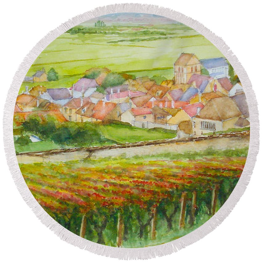 Autumn Round Beach Towel featuring the painting Autumn In Epernay In The Champagne Region Of France by Dai Wynn