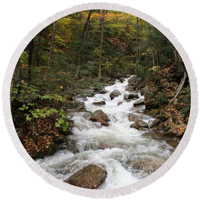 Franconia Notch Round Beach Towel featuring the photograph Franconia Notch In Autumn by Christiane Schulze Art And Photography