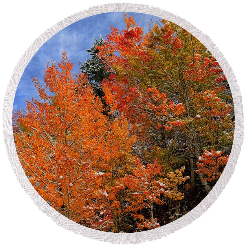 Autumn Round Beach Towel featuring the photograph Autumn In Idaho by Greg Norrell