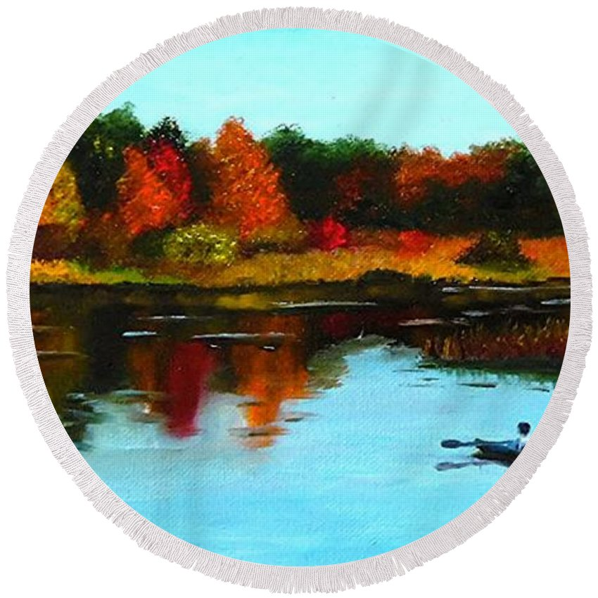 Fall Round Beach Towel featuring the painting Autumn In Michigan by Janet Guss