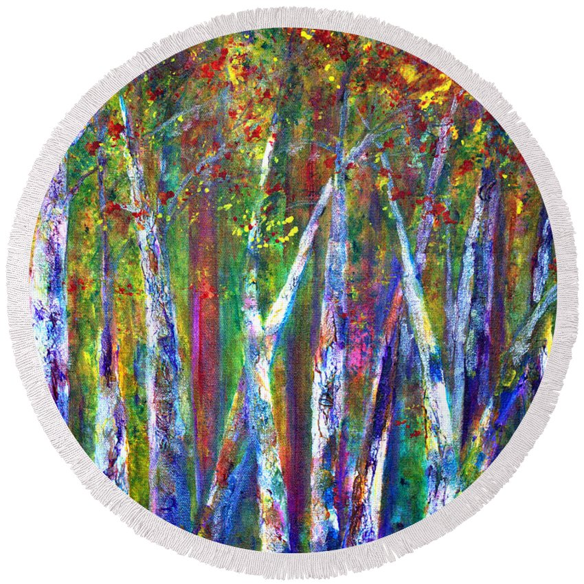 Claire Bull Round Beach Towel featuring the painting Autumn In Muskoka by Claire Bull