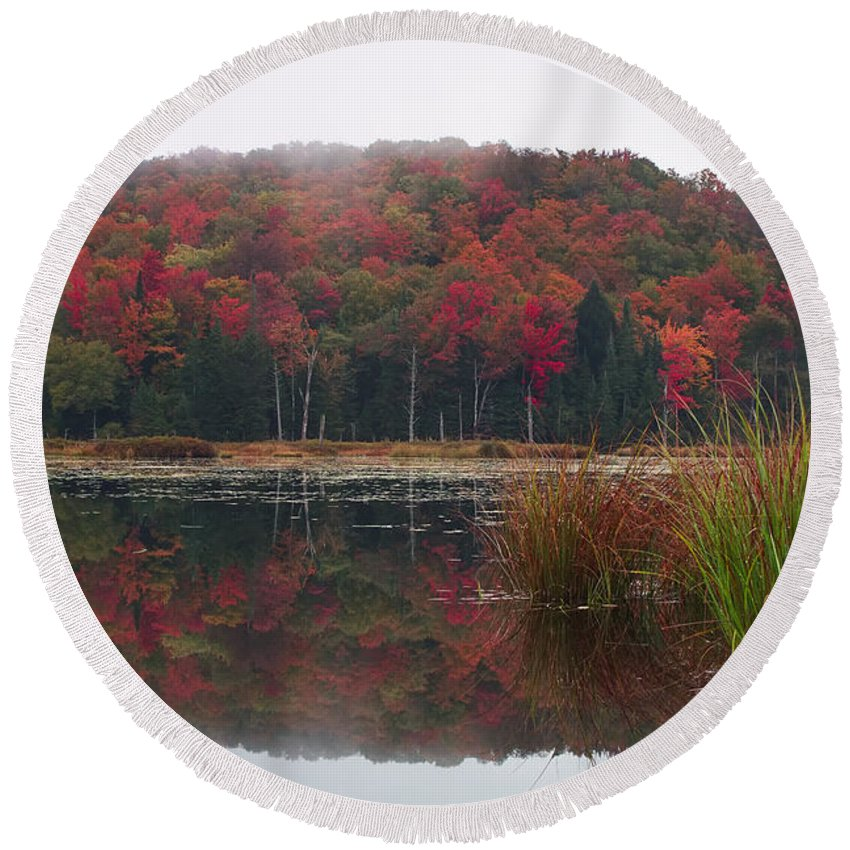 Autumn Round Beach Towel featuring the photograph Autumn In Northern Vermont by John Vose