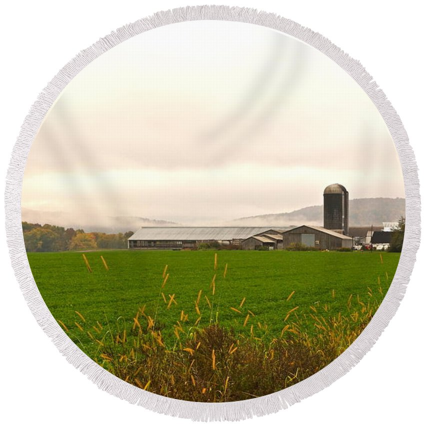 Farm And Silo Round Beach Towel featuring the photograph Autumn In The Butternut Valley-seven by Byron Varvarigos