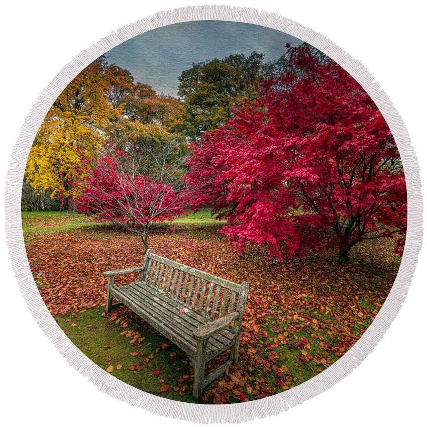 Autumn Round Beach Towel featuring the photograph Autumn In The Park by Adrian Evans