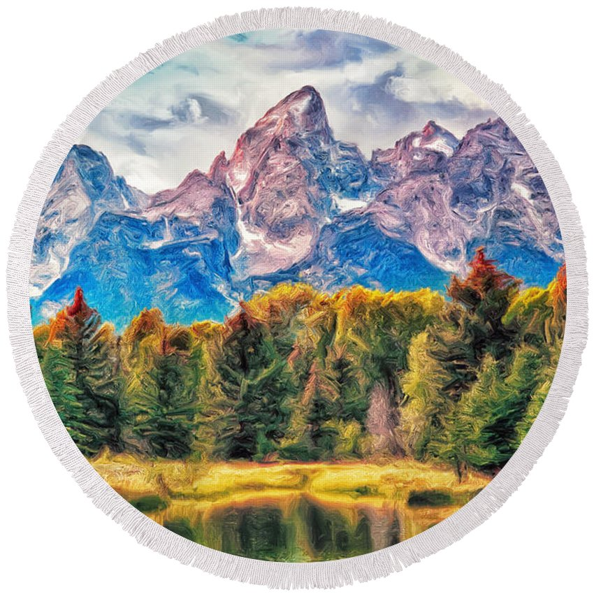 Autumn Round Beach Towel featuring the painting Autumn In The Tetons by Dominic Piperata