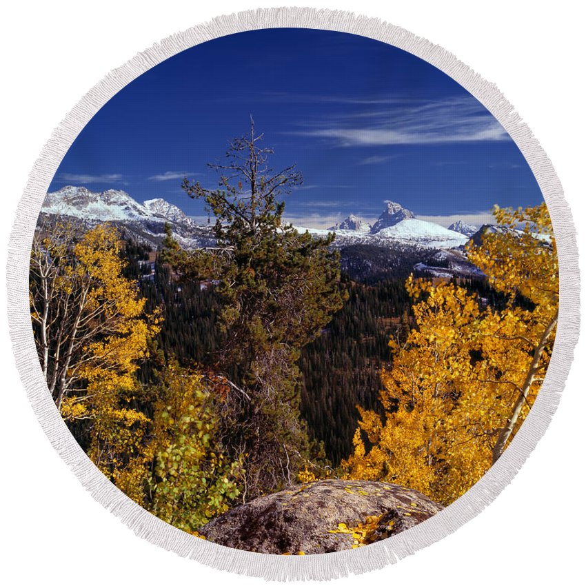 Aspens Round Beach Towel featuring the photograph Autumn In The Tetons by Leland D Howard
