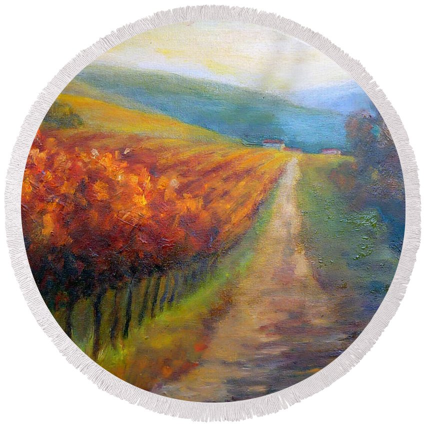 Santa Rosa Round Beach Towel featuring the painting Autumn In The Vineyard by Carolyn Jarvis
