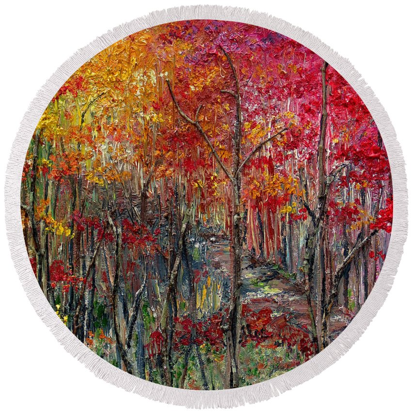 Autumn Round Beach Towel featuring the painting Autumn In The Woods by Karin Dawn Kelshall- Best