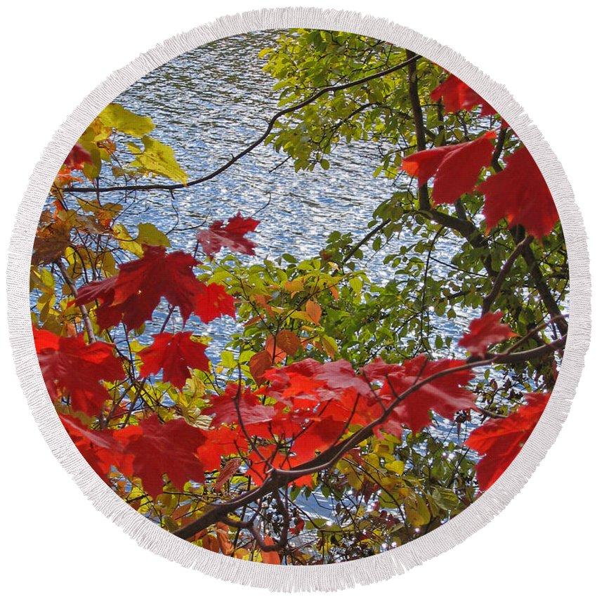 Autumn Round Beach Towel featuring the photograph Autumn Lake by Ann Horn