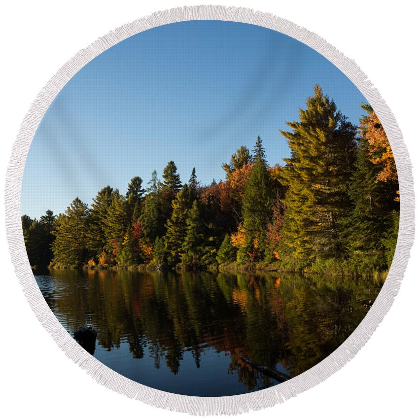 Fall Forest Lake Round Beach Towel featuring the photograph Autumn Lake In The Forest - Reflection Tranquility by Georgia Mizuleva