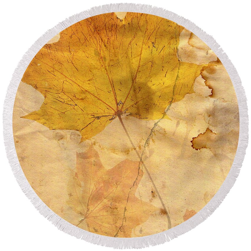 Detail Round Beach Towel featuring the digital art Autumn Leaf In Grunge Style by Michal Boubin