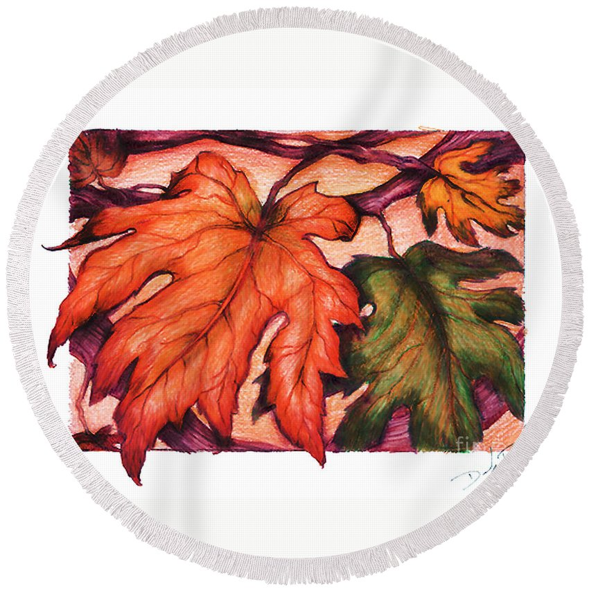 Landscape Round Beach Towel featuring the drawing Autumn Leaves by Derrick Bruno-Rathgeber