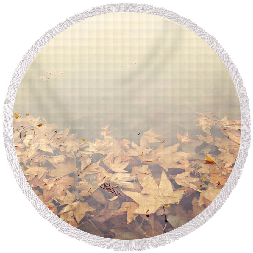 Autumn Round Beach Towel featuring the photograph Autumn Leaves Floating In The Fog by Angela Stanton