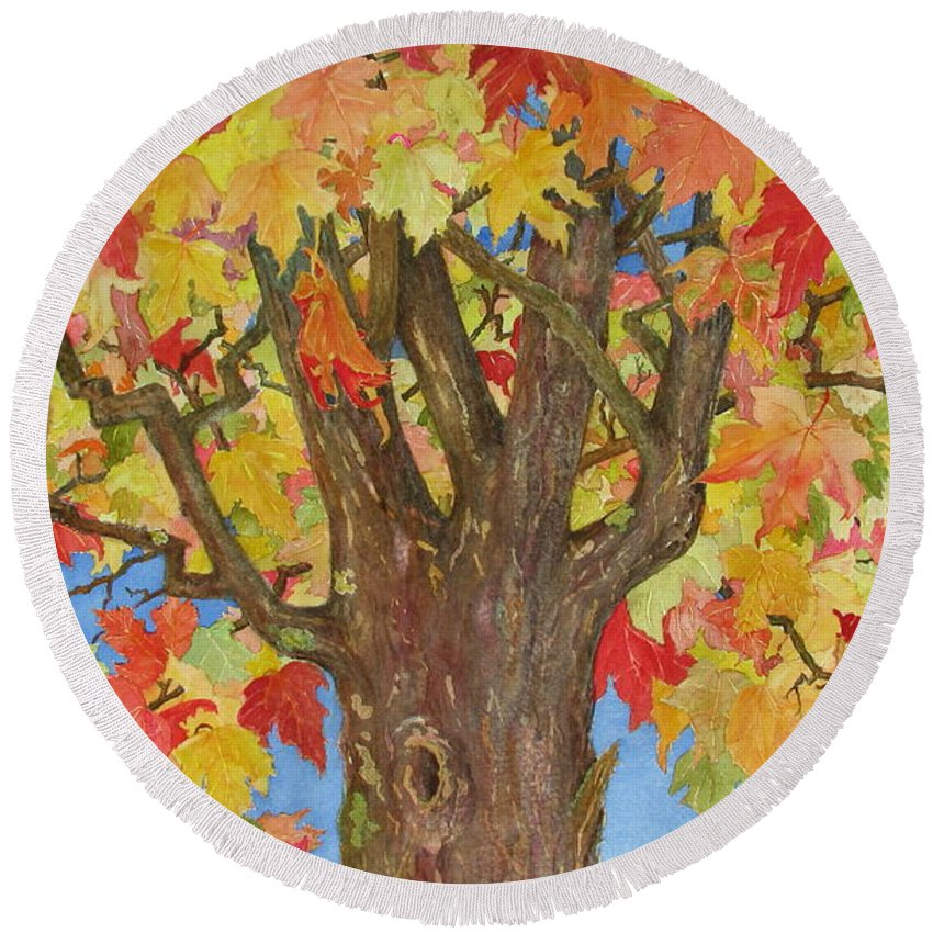 Leaves Round Beach Towel featuring the painting Autumn Leaves 1 by Mary Ellen Mueller Legault