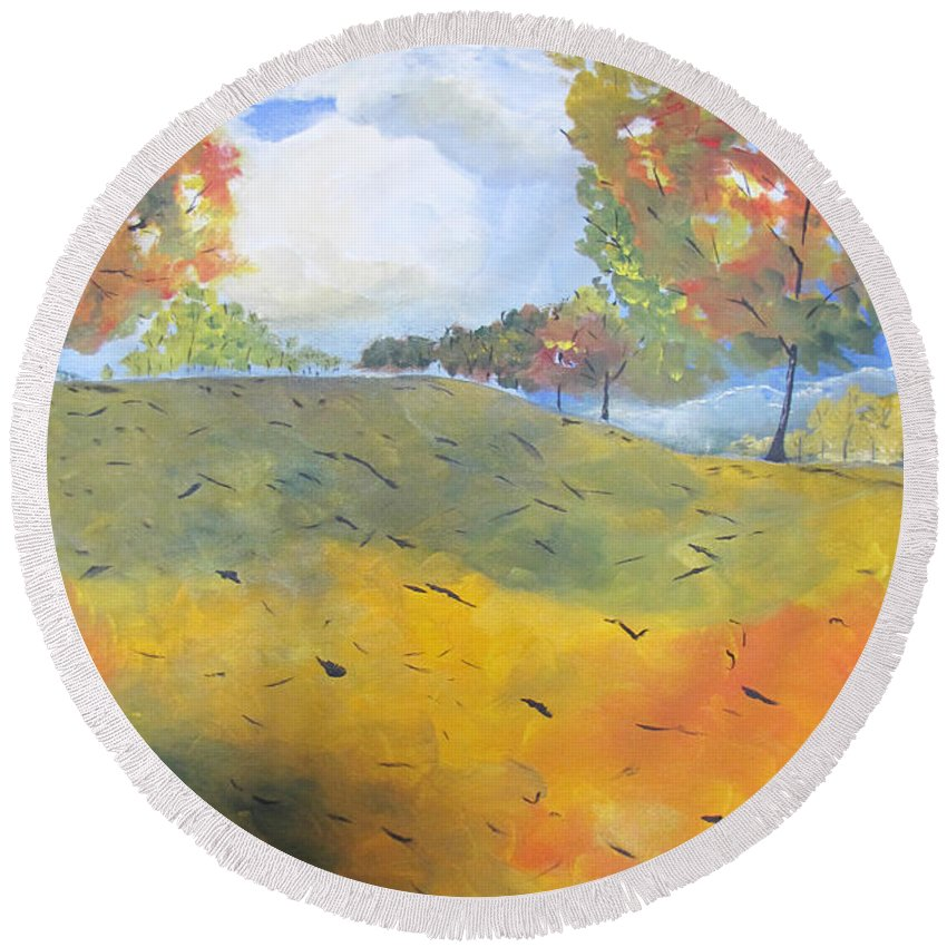 Acrylic Round Beach Towel featuring the painting Autumn Leaves Panel 2 Of 2 by Gary Smith