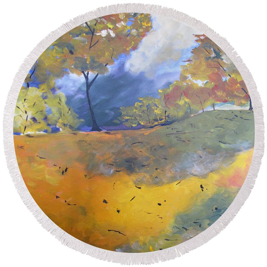 Landscape Round Beach Towel featuring the painting Autumn Leaves Panel1 Of 2 Panels by Gary Smith