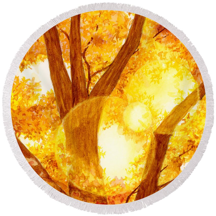 Tree Round Beach Towel featuring the painting Autumn Light by Hailey E Herrera