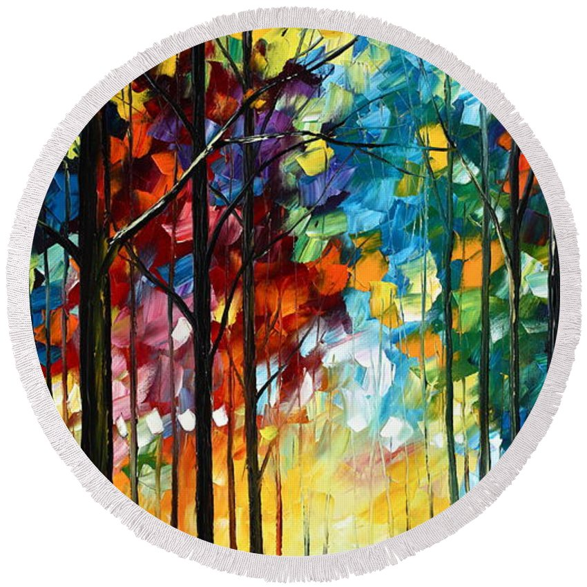 Landscape Round Beach Towel featuring the painting Autumn Light by Leonid Afremov