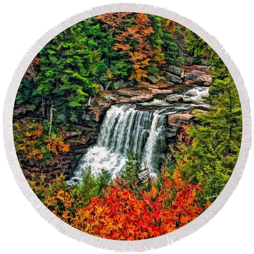 West Virginia Round Beach Towel featuring the photograph Autumn Magic Paint by Steve Harrington