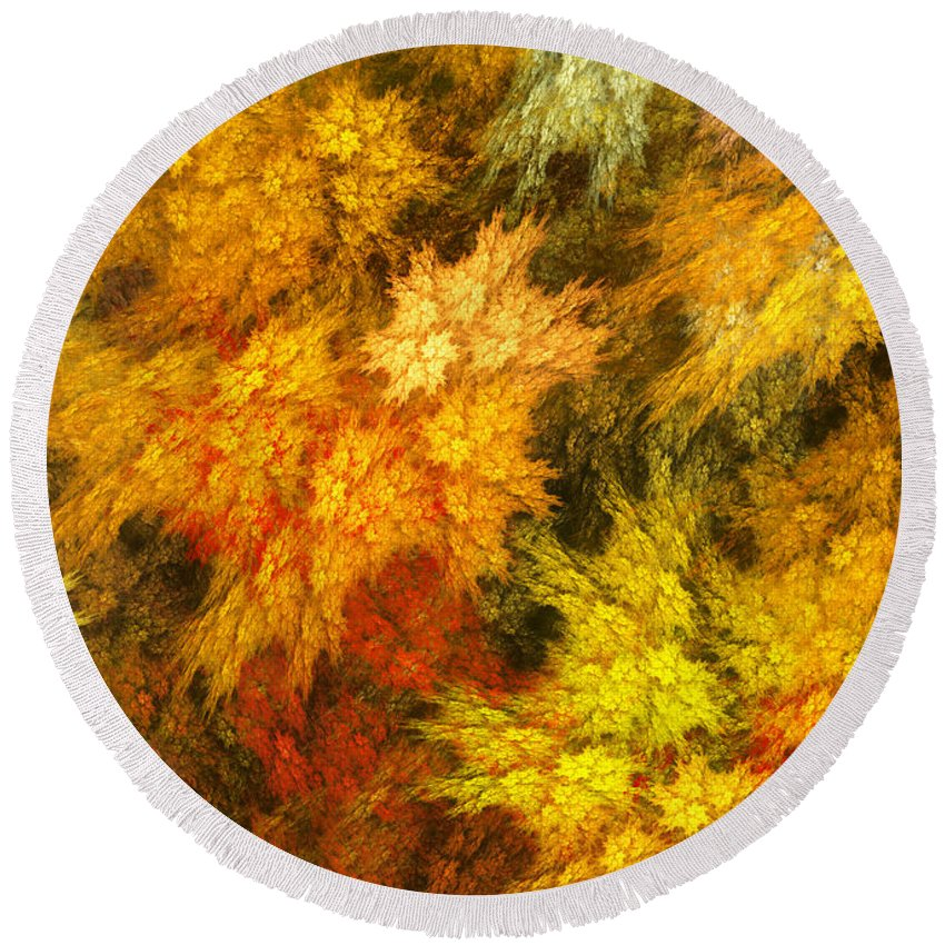 Red Round Beach Towel featuring the digital art Autumn by Martin Capek