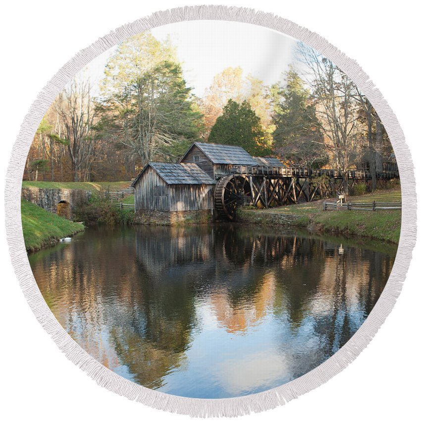 Mabry Mill Round Beach Towel featuring the photograph Autumn Morning At Mabry Mill by Carol Lynn Coronios