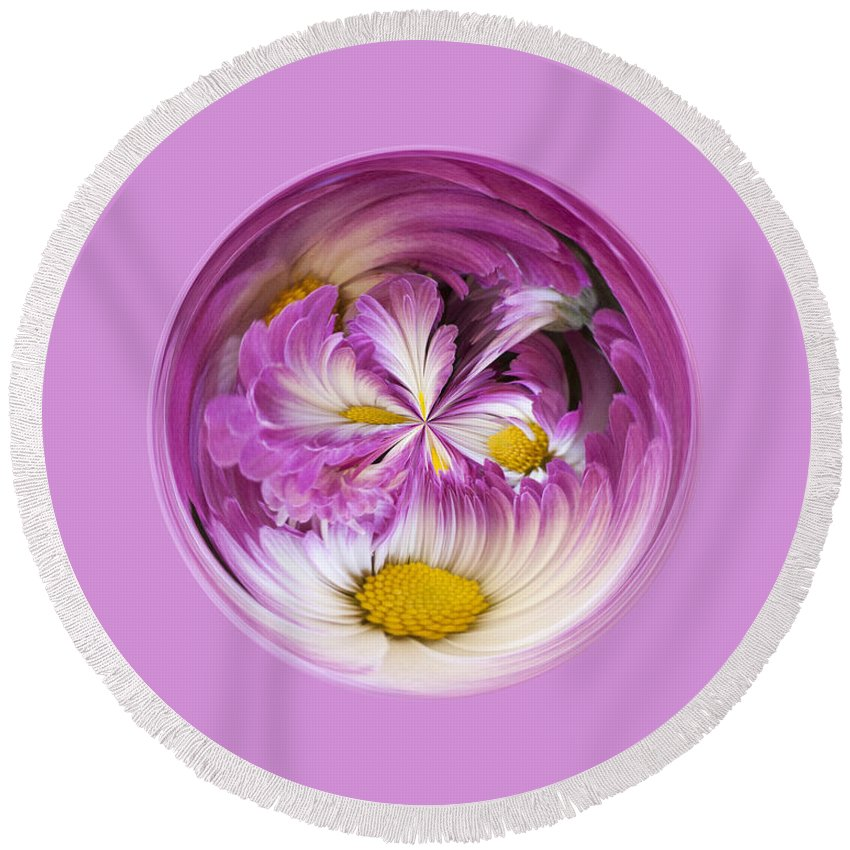 Purple Round Beach Towel featuring the photograph Autumn Mum Orb Abstract by Darleen Stry
