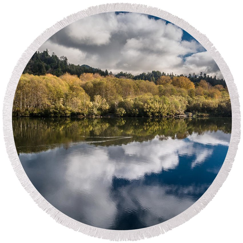 Reflections Round Beach Towel featuring the photograph Autumn On The Klamath 11 by Greg Nyquist