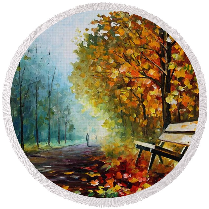 Leonid Afremov Round Beach Towel featuring the painting Autumn Park - Palette Knife Oil Painting On Canvas By Leonid Afremov by Leonid Afremov