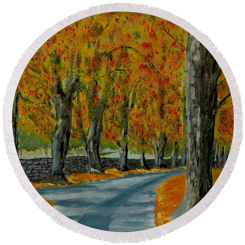 Autumn Round Beach Towel featuring the painting Autumn Pathway by Anthony Dunphy