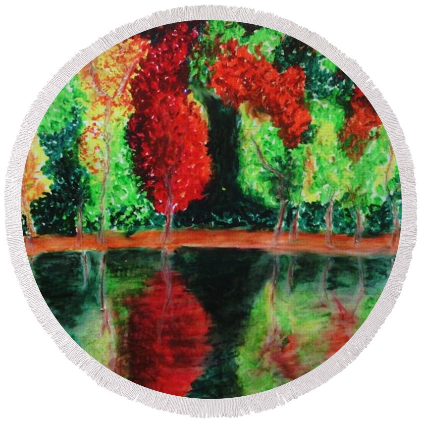 Autumn Round Beach Towel featuring the drawing Autumn Reflection by Crystal Menicola