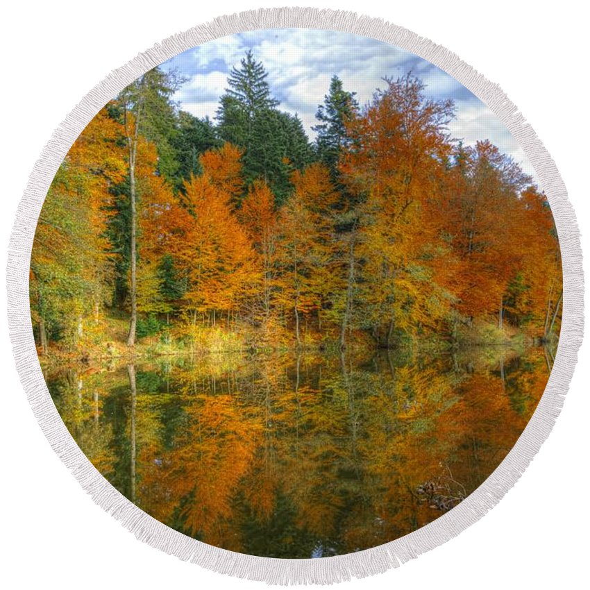 Autumn Round Beach Towel featuring the photograph Autumn Reflection by Ivan Slosar