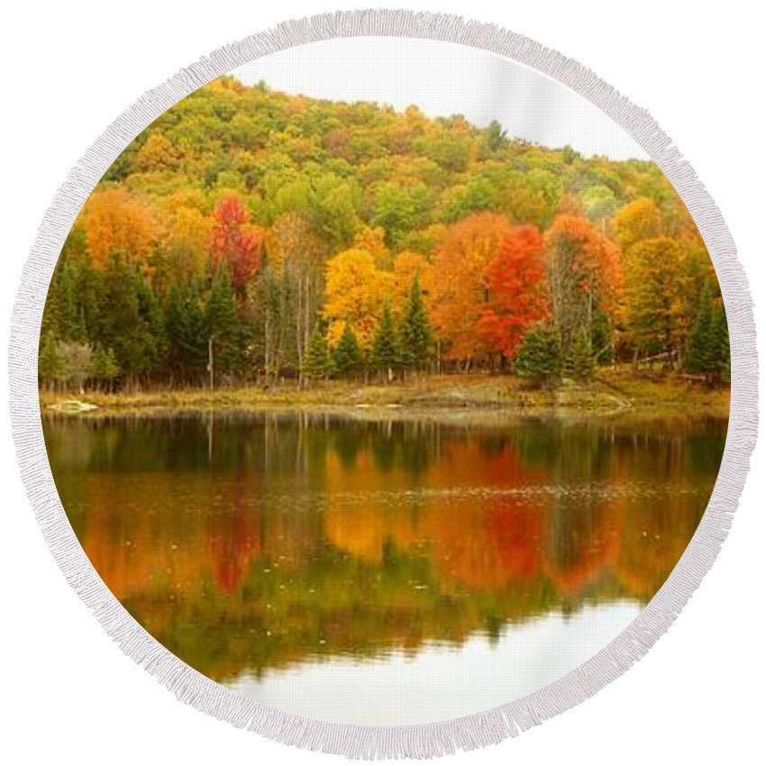 Vivid Round Beach Towel featuring the photograph Autumn Reflection Panoramic View by Vicki Spindler