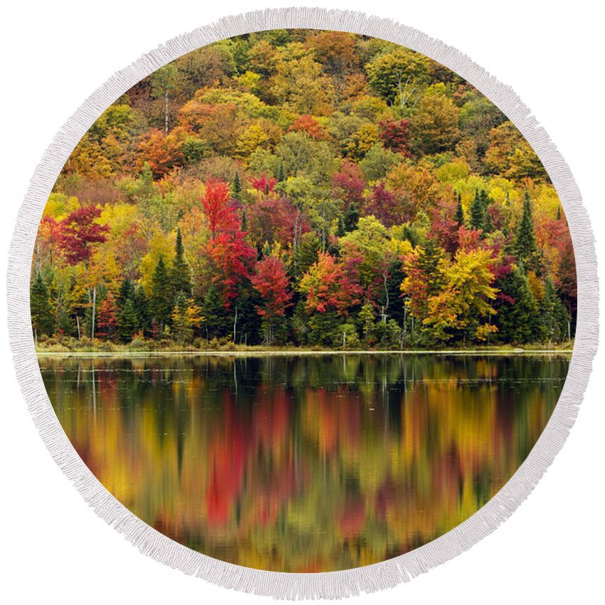 Autumn Round Beach Towel featuring the photograph Autumn Reflections by John Vose
