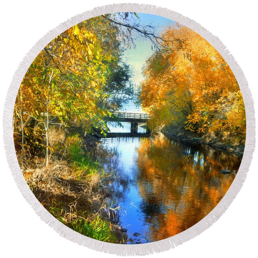 Autumn Round Beach Towel featuring the photograph Autumn Reflections On A Friday Afternoon by Tara Turner