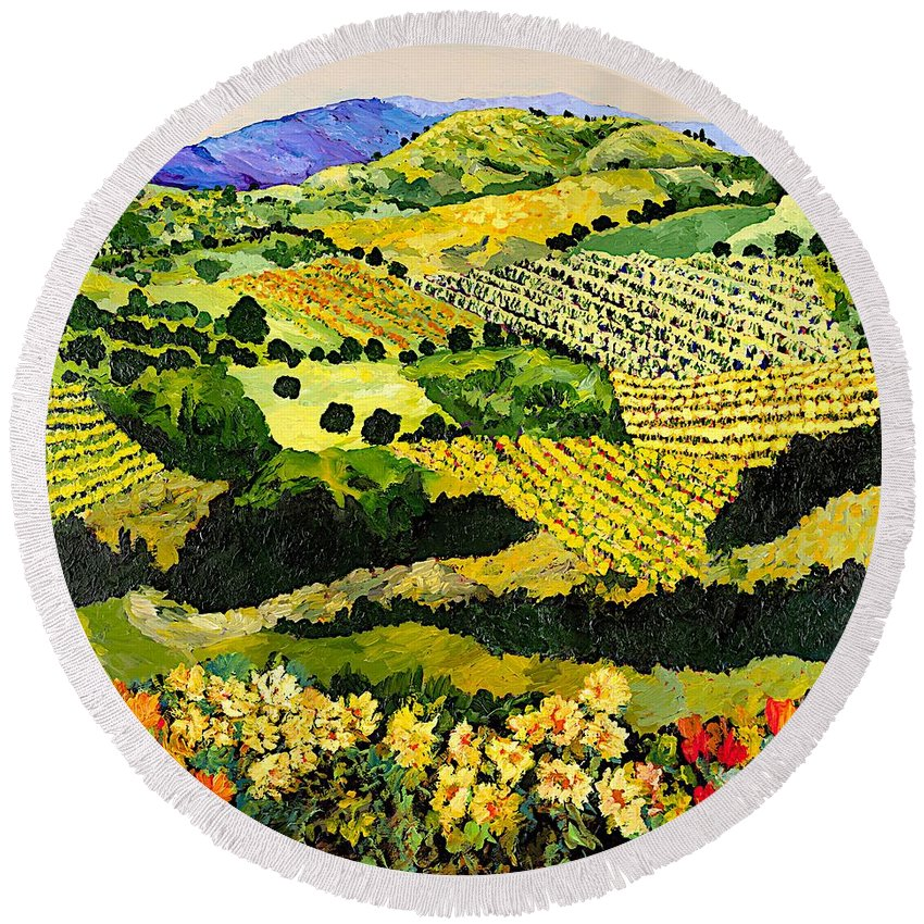 Landscape Round Beach Towel featuring the painting Autumn Remembered by Allan P Friedlander