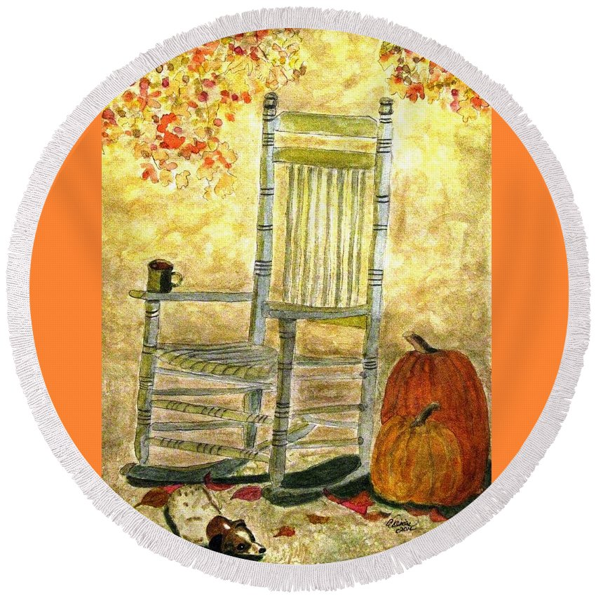 Autumn Paintings Round Beach Towel featuring the painting Autumn Rocks by Angela Davies