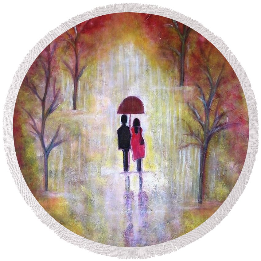 Romantic Painting Figures Romance Umbrella Red Orange People Abstract Trees Rain Yellow Women Round Beach Towel featuring the painting Autumn Romance by Manjiri Kanvinde