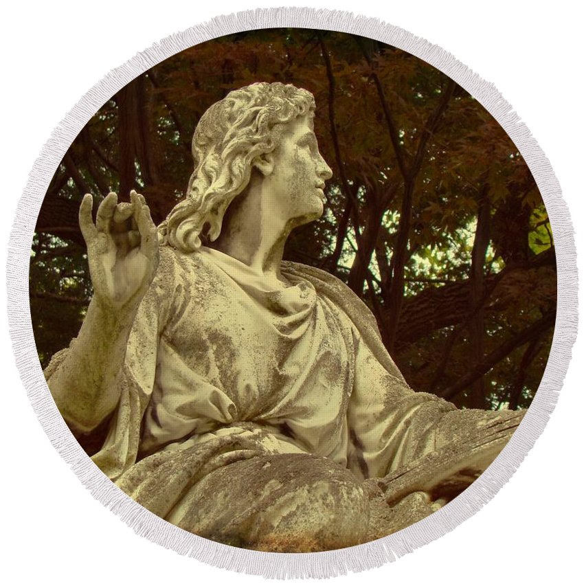 Mount Hope Cemetery Round Beach Towel featuring the photograph Red Autumn Sculpture by Gothicrow Images