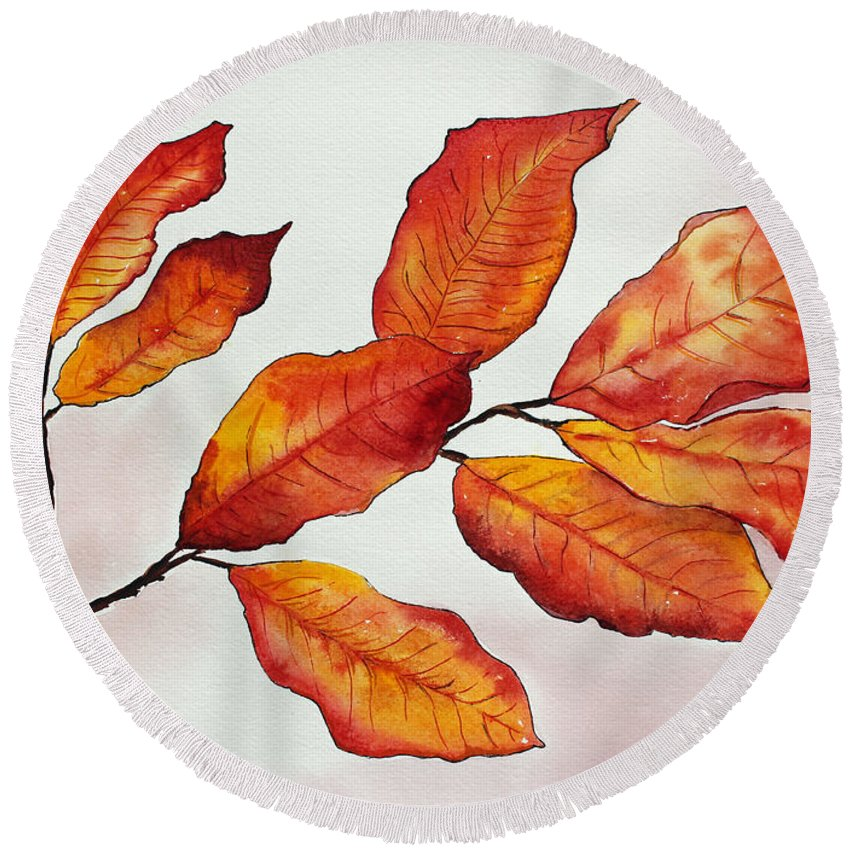 Branches Round Beach Towel featuring the painting Autumn by Shannan Peters