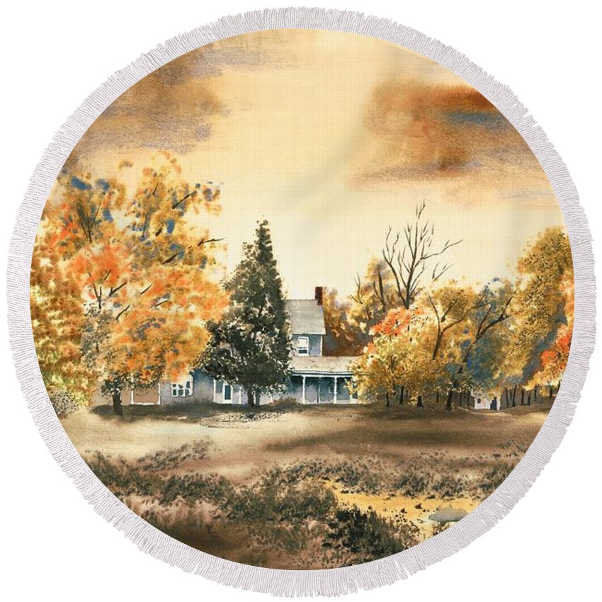 Autumn Sky No W103 Round Beach Towel featuring the painting Autumn Sky No W103 by Kip DeVore