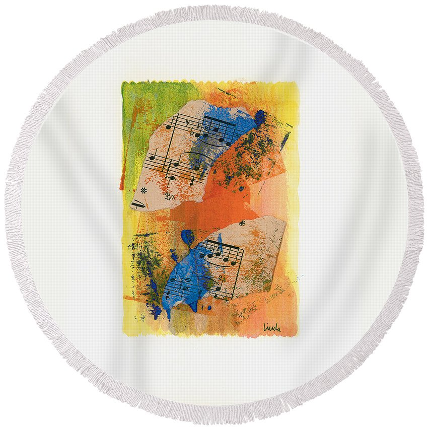 Abstract Round Beach Towel featuring the painting Autumn Song by Linda Wimberly