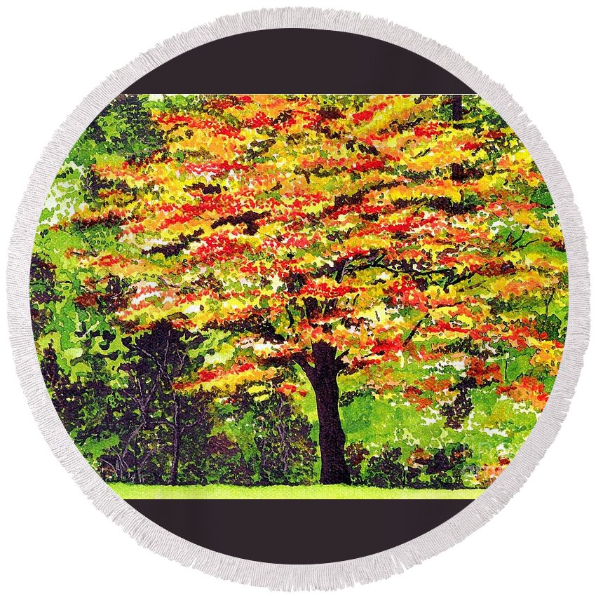 Fine Art Round Beach Towel featuring the painting Autumn Splendor by Patricia Griffin Brett