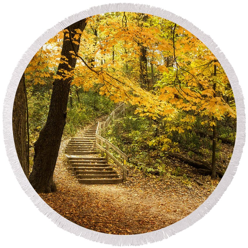 Autumn Round Beach Towel featuring the photograph Autumn Stairs by Scott Norris