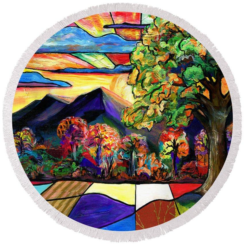 Everett Spruill Round Beach Towel featuring the painting Autumn Sunrise by Everett Spruill