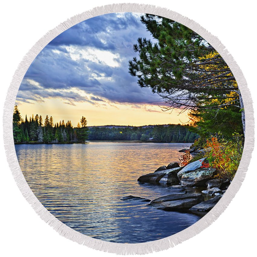 Sunset Round Beach Towel featuring the photograph Autumn Sunset At Lake by Elena Elisseeva