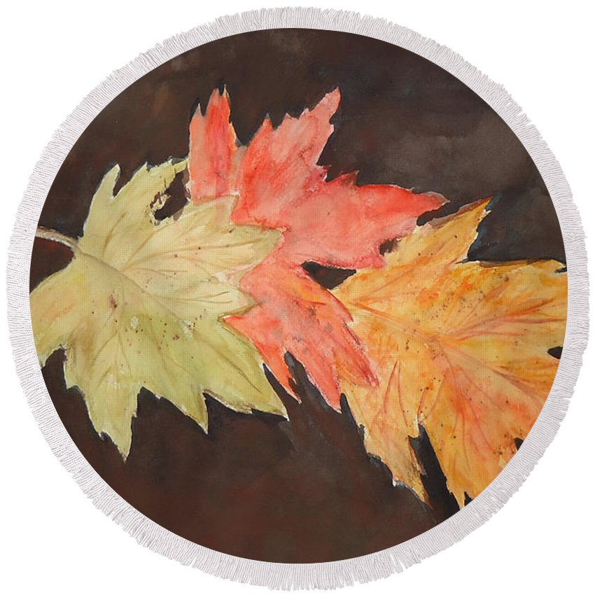 Autumn Round Beach Towel featuring the painting Autumn Three by Charme Curtin