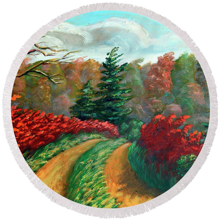 Autumn Landscape Print Round Beach Towel featuring the painting Autumn Trail by Hanne Lore Koehler